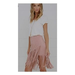 Lucy Paris Skirts - Faux suede fringe skirt